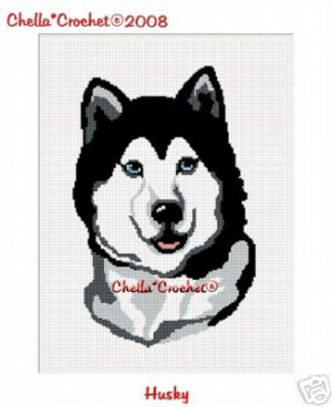 Husky Dog  Afghan Crochet Pattern Graph
