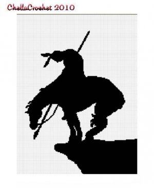 Chella Crochet End Of The Trail Indian Native American Horse Afghan Crochet Pattern Graph