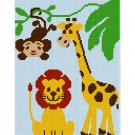 JUNGLE FRIENDS Giraffe Monkey Lion Safari Z00 Afghan Crochet Pattern Graph