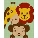 Monkey Giraffe Lion ZOO Jungle Safari Animal Afghan Crochet Pattern Graph