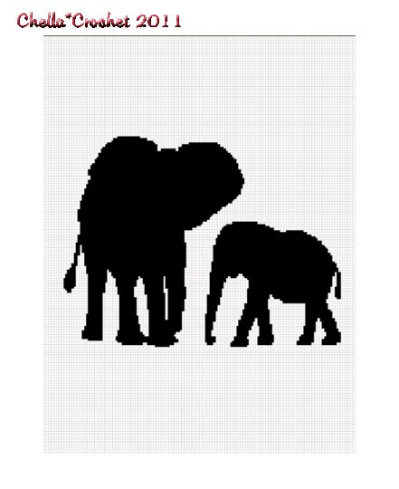 African Cow Calf Mom Baby Elephant Afghan Crochet Pattern Graph