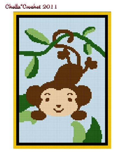 ZOO Jungle Safari Monkey in Jungle on Vine Afghan Crochet Pattern Graph