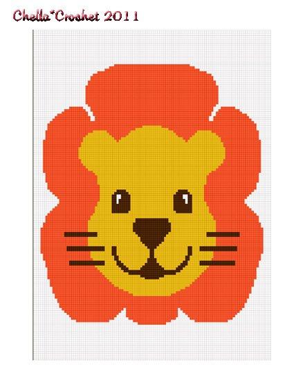 Chella Crochet Baby Jungle Safari Lion Full Face Afghan Crochet Pattern Graph