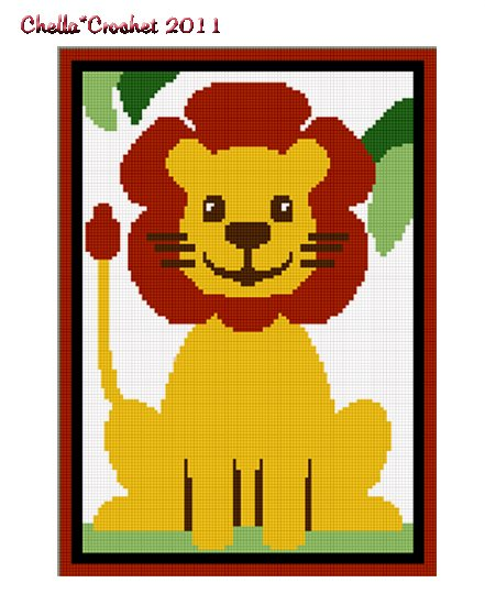 Chella Crochet Safari Baby Lion Sitting in Jungle Crochet Afghan Pattern Graph