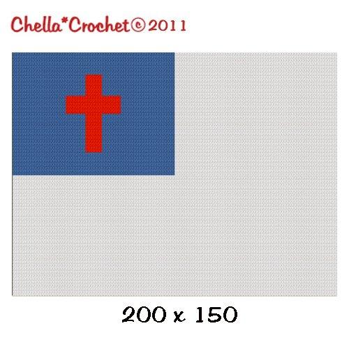 Christian Cross Blue Field Flag Banner Afghan Blanket Crochet Pattern Graph