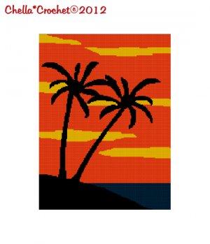 Beautiful Palm Trees on the Beach Sunset Sky Afghan Crochet