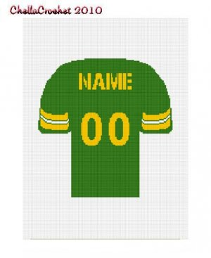 Football Jersey Green Yellow Afghan Crochet Pattern Graph Afghan Graph Chart. .PDF