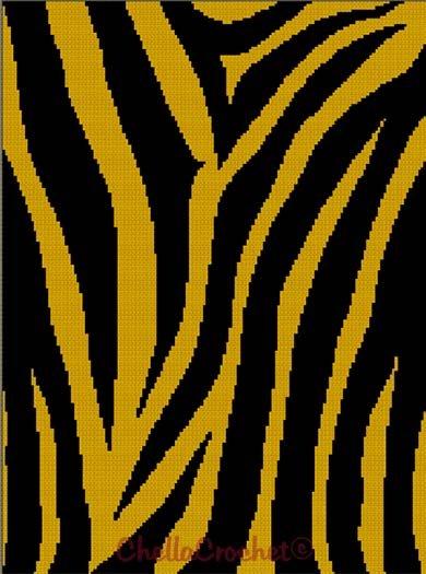 Chella Crochet Pattern Bengal Siberian Tiger Animal Print Safari Pattern Graph Chart. .PDF