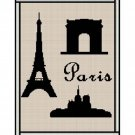 Crochet Pattern Eiffel Tower Arc de Triumph Notre Dame Silhouette Afghan Pattern Graph Cross Stitch