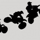 Motocross Racers Bikes Stunts Afghan Crochet Knit Cross Stitch Pattern