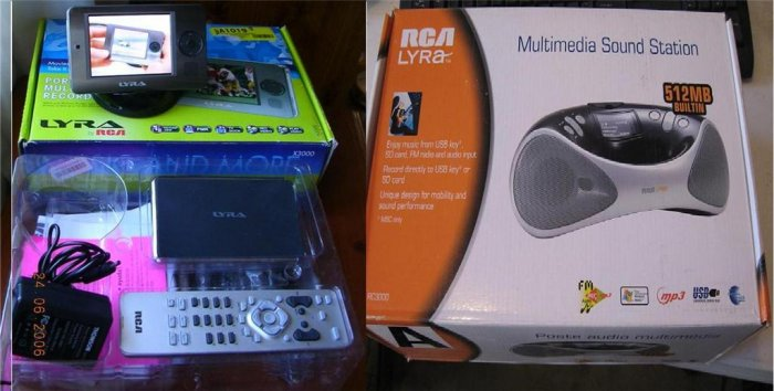 RCA Lyra X3000 20 GB Digital Media Recorder/MP3  Along with a 512MB Digital BoomBox