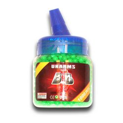 6 BOTTLES OF AIRSOFT BB'S - ORANGE OR GREEN