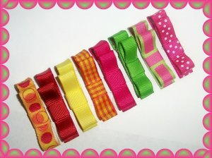 8 beautiful tropical color hair bow clippies..circles,solids,gingham,stripes, and polka dots