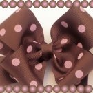 PINK AND BROWN POLKA DOT HAIR BOWS