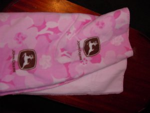 Pink John Deere Throw
