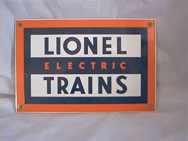 PORCELAIN SIGN - LIONEL ELECTRIC TRAIN - PORCELAIN by Ande Rooney