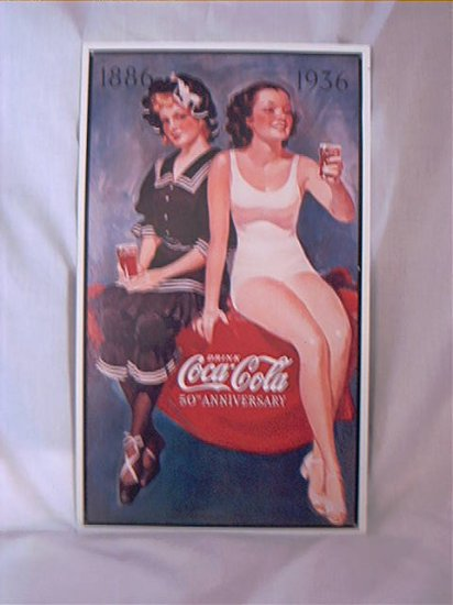 COCA COLA  1886 1936 50th ANNIVERSARY 2 GIRLS IN SWIMWEAR REPRODUCTION TIN SIGN LIMITED ISSUE 1993