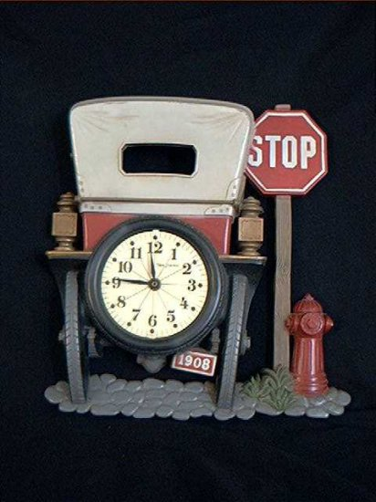 CLOCK 1908 AUTOMOBILE STOP SIGN AND FIRE HYDRANT RESIN ON SALE