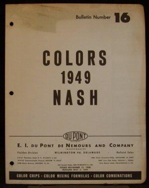1949 Nash Color Chart by Du Pont #16 - Color Chips