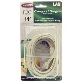 Belkin A-3L791-14-S 14ft Cat 5 RJ45 Gray Snagless