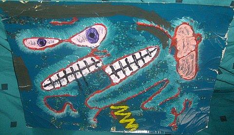 abstract mixed media face