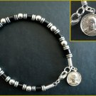 Steel Beaded Buddhist Amulet Bracelet