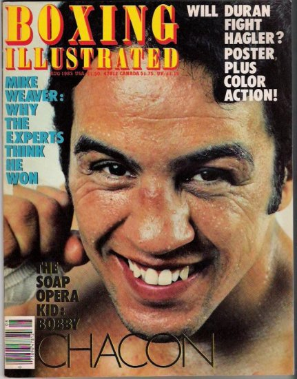 Boxing Illustrated- August 1983- Duran Hagler-Mike Weaver-Bobby Chacon-Vintage