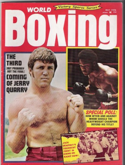 World Boxing-Jerry Quarry-Jack Dempsey-May 1974- Vintage Magazine