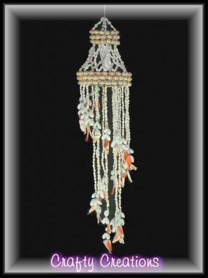 """Hand Crafted Artistic Shell Chandlier - 24"""" Long - #132"""