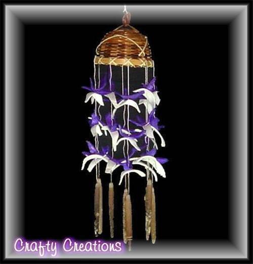 "Purple & White Shell Wind Chimes - 12"" Long - #238"