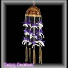 "Purple & White Shell Wind Chimes - 12"" Long - #238"