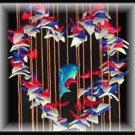 "Red, White, & Blue Heart Shell Wind Chimes - 24"" Long - #231"