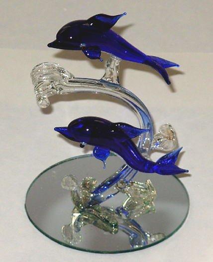 Home Decor - Lot Of 2 Glass Dolphins Knickknacks - Dolf - C - D