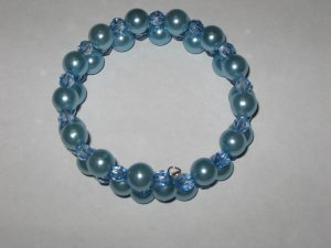 Blue Beaded Wrap Bracelet