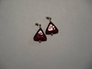 Red Triangle Glass Bead Earrings