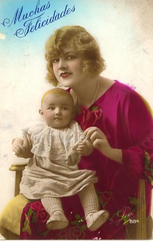 1929 Muchas Felicidades Postcard Woman Baby PC  Foreign