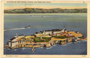 Alcatraz Island Federal Prison Ariel View Real Photo PC California