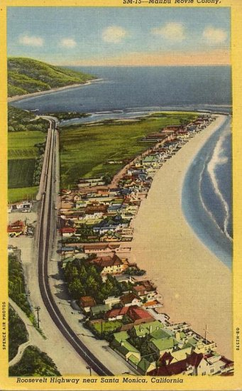 Roosevelt Hwy Santa Monica CA Ariel View Real Photo PC
