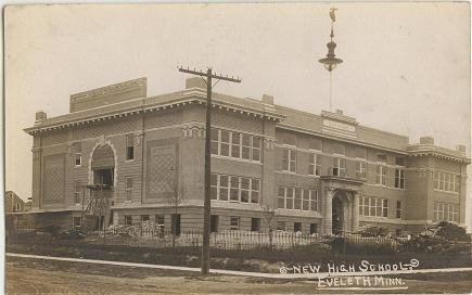 Vintage Eveleth Minnesota New High School Real Photo Postcard Post card  1940s