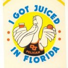1983 I got Juiced in Florida OJ Pelican Comical Post card postcard