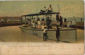 Antique 1904 Postcard Children on the Beach Asbury Park New Jersey post card