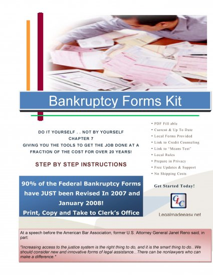 Bankruptcy Chapter 7 Computer Fillable Forms Kit