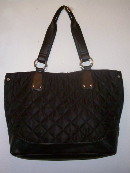 BLACK DESIGNER INSPIRED QUILTED TOTE NWT