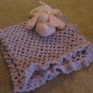Crochet Lavender Pink Blue Ruffled Baby Boucle Blanket