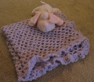 Crochet Lavender Pink Blue Ruffled Baby Boucle Blanket