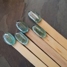 5 Large Decorative Wooden Plant Labels with Blue Glass