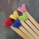 5 Large Decorative Wooden Plant Labels with Assorted Stone Butterflies