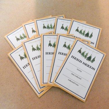 Exclusive Herb Seed Saving Envelopes - Set of 10