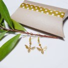 Gold Brass Bee Honeybee Earrings with Swarovski Crystal