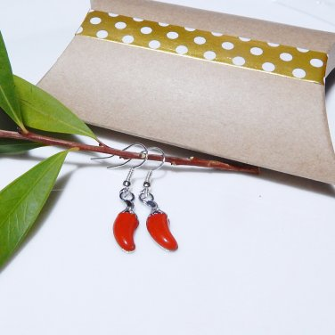 Botanical Red Hot Pepper Enamel Earrings